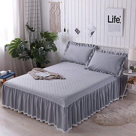 XNSY colchas Cama 150 Elegantes Cubierta de Cama de algodón Engrosada Falda de Cama sábana de Cama de Encaje Cubierta de protección de colchón de algodón-re_1.8mx2.2m + Funda de Almohada * 2: