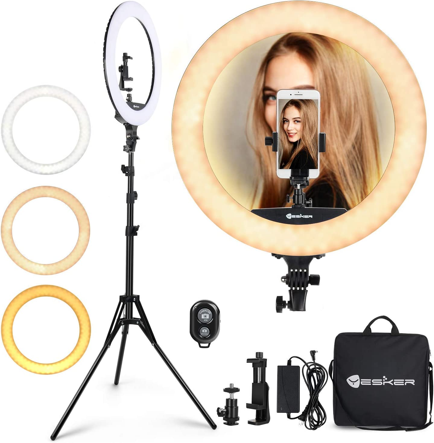 Ring Light Set 18 inch Dimmable Color Temperature 3200K-5600K LED Ring Light with 2M Height Adjustable Stand for YouTube Makeup Video Shooting Portrait Vlog Selfie US Stock