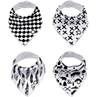 Baby Bibs with Snaps, DCAUT Unisex 4-Pack Baby Shower Gift for Drooling & Teething, 100% Organic Cotton Super Absorbent & Soft Baby Bibs for Boys and Girls (Black with white)