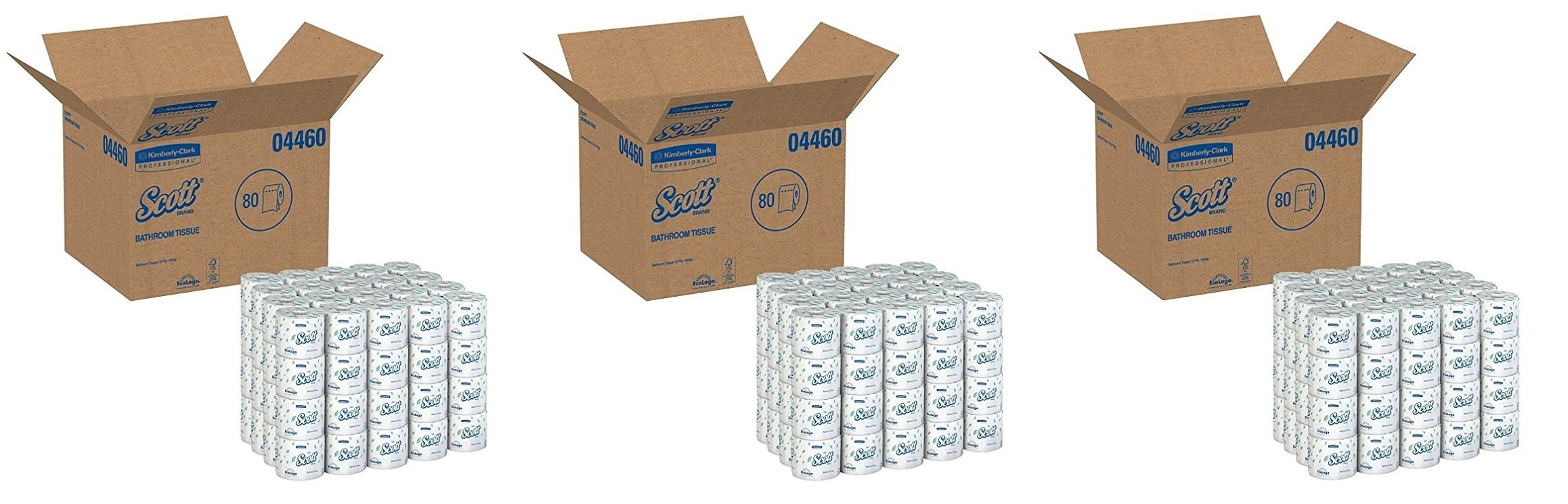 Kimberly-Clark Professional GID-881029 Scott 2-Ply Standard Roll Bathroom Tissue, White (Case of 80 Rolls) (3 CASES)