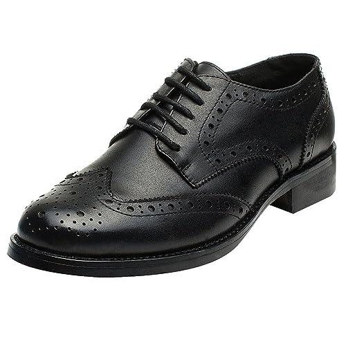Rismart Mujer Brogue Dedo del Pie Puntiagudo Puntas De ala Oxfords Zapatos De Cordones: Amazon.es: Zapatos y complementos
