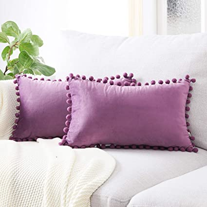 Topfinel juego 2 Hogar cojín terciopelo Decorativa Almohadas Fundas color sólido Para Sala de Estar sofás 30x50cm Violeta