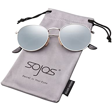 69ac4d0d95221 SojoS Small Round Vintage Mirror Lenses UV Protection Polarized Unisex  Sunglasses SJ1014 With Silver Frame