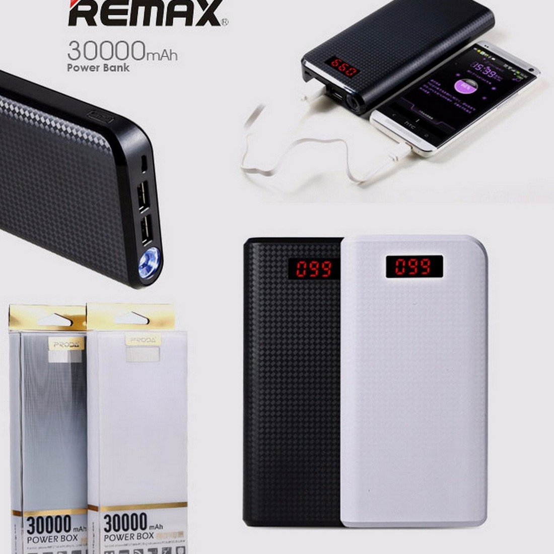 Remax 30000mah 2 Usb Port Power Bank Electronics Car Charger 3 Output Saver 36a White