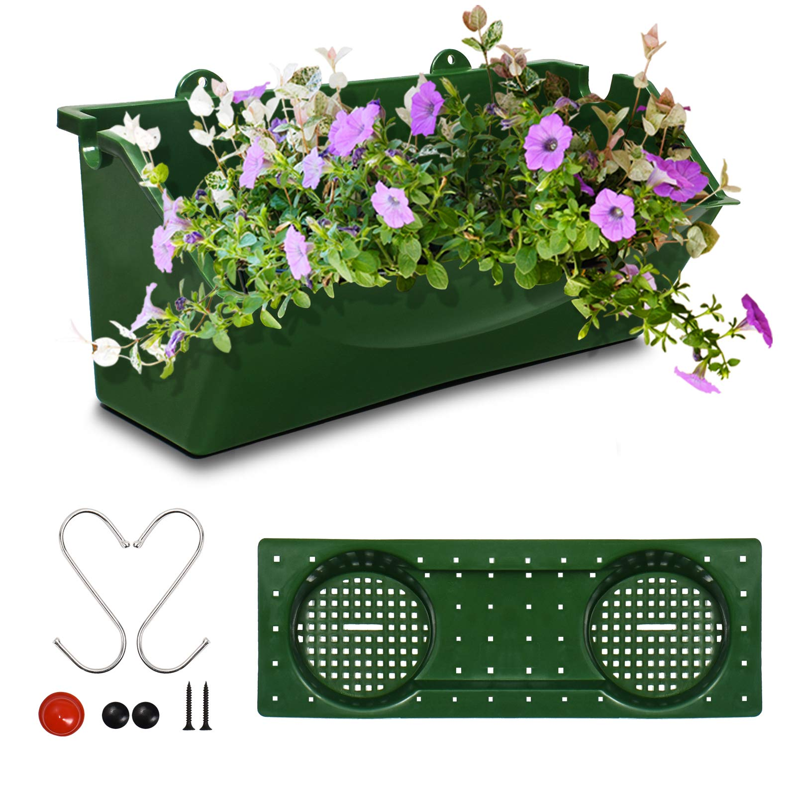 KORAM 12-inch Vertical Garden Planter Wall Mount Hanging Flower Box Living Wall Planter Plant Pots with S Shaped Hooks for Balcony Window Vegetable Gardens,1-pack