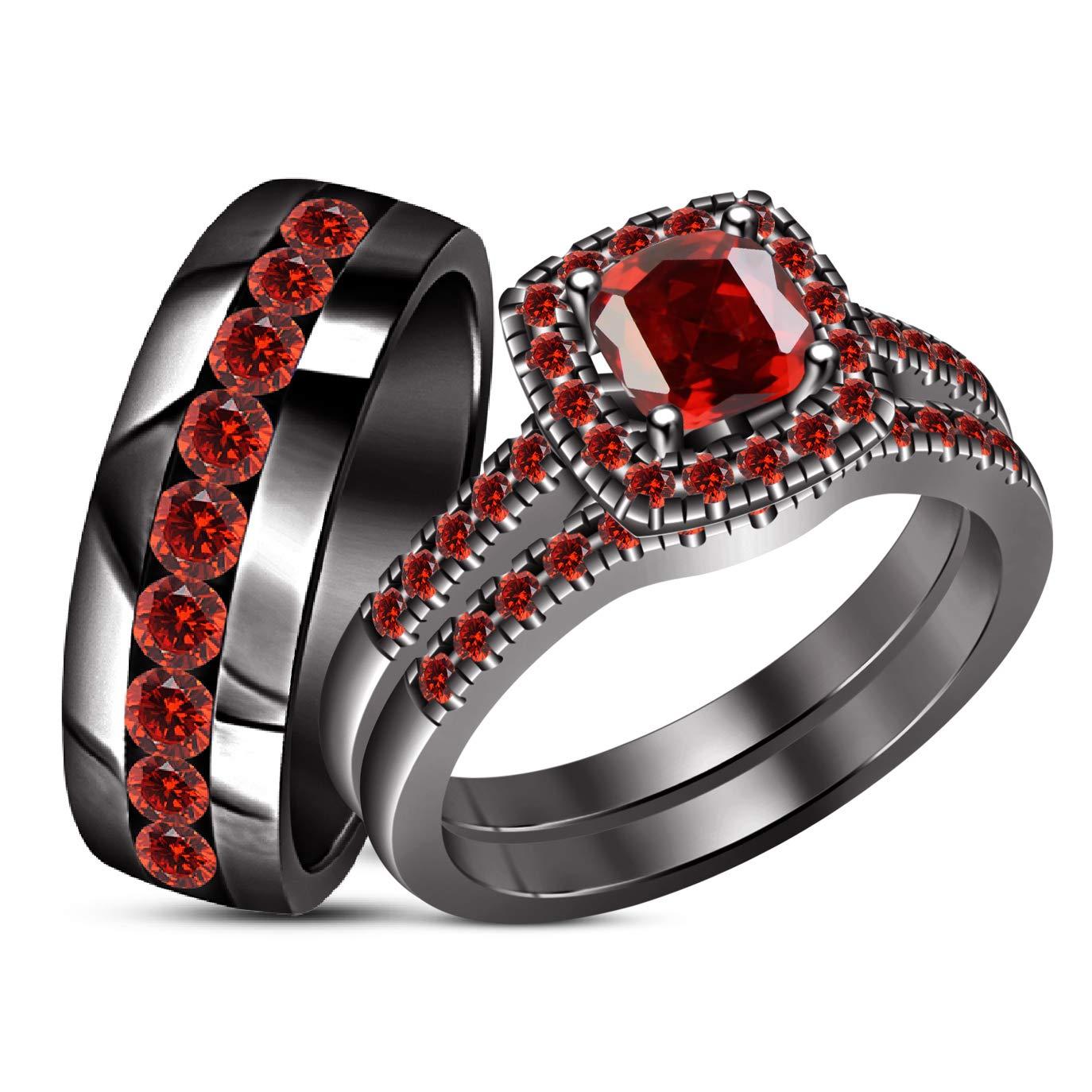 Amazon.com: TVS-JEWELS - Juego de anillos de boda para ...