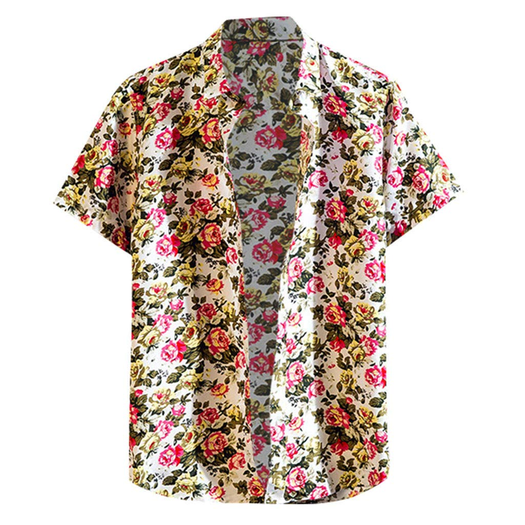 Eoeth Big Sale!Mens Summer Fashion Shirts Casual Short Sleeve Beach Tops Loose Casual Blouse Lightweight Quick-Dry Tee Red