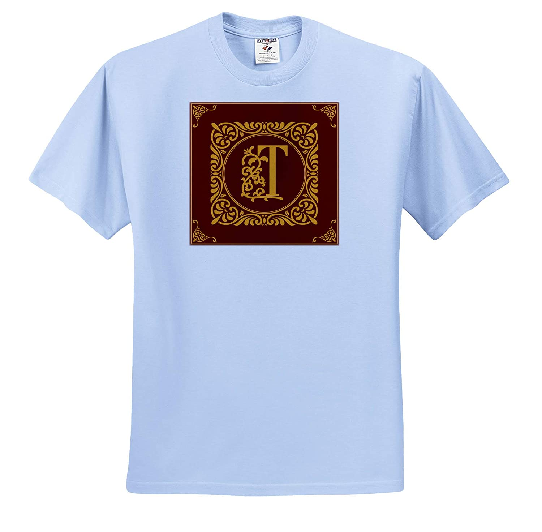 T-Shirts High Initial T Monogram Red Ornament Beautiful Ornamental Burgundy 3dRose Alexis Design Yellow Monogram