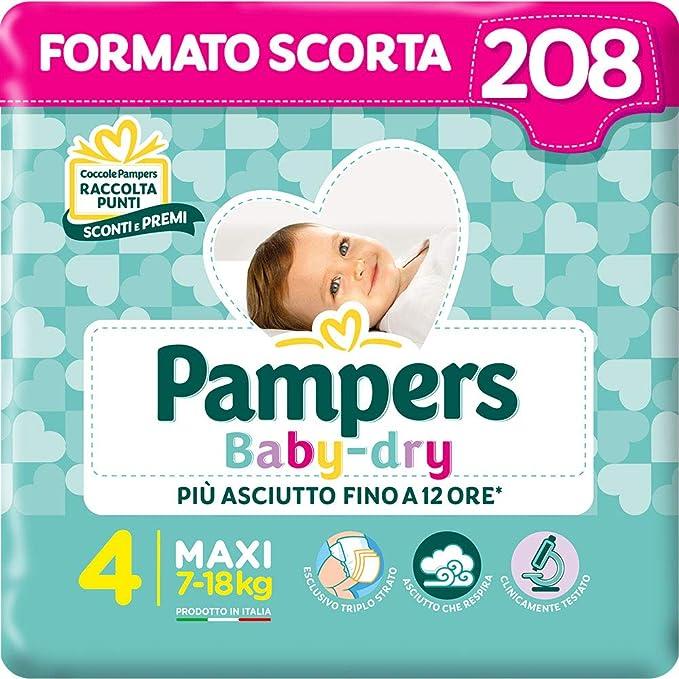 Pampers Baby Dry Maxi, 208 Pannolini, Taglia 4 Maxi (7-18 kg)