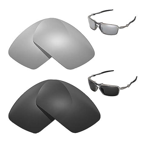 67d28d7af1 Image Unavailable. Image not available for. Color  Walleva Polarized  Titanium + Black Replacement Lenses Oakley Badman Sunglasses