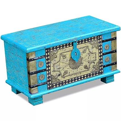 WEILANDEAL Baul de Almacenamiento Madera de Mango Azul 80x40x45 cm Cajas de almacenajeHecho Completamente a Mano. Pasa ...
