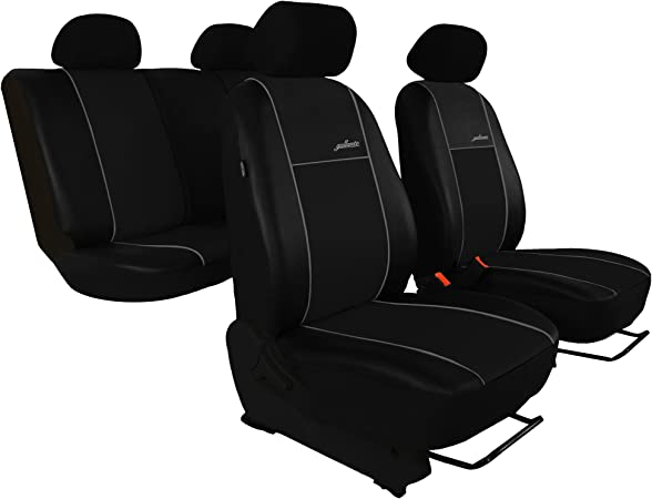 Gsc Premium Sitzbezüge Komplettset Autositzbezug Kunstleder Universal Schwarz Gallante Premium Kompatibel Mit Skoda Fabia Auto