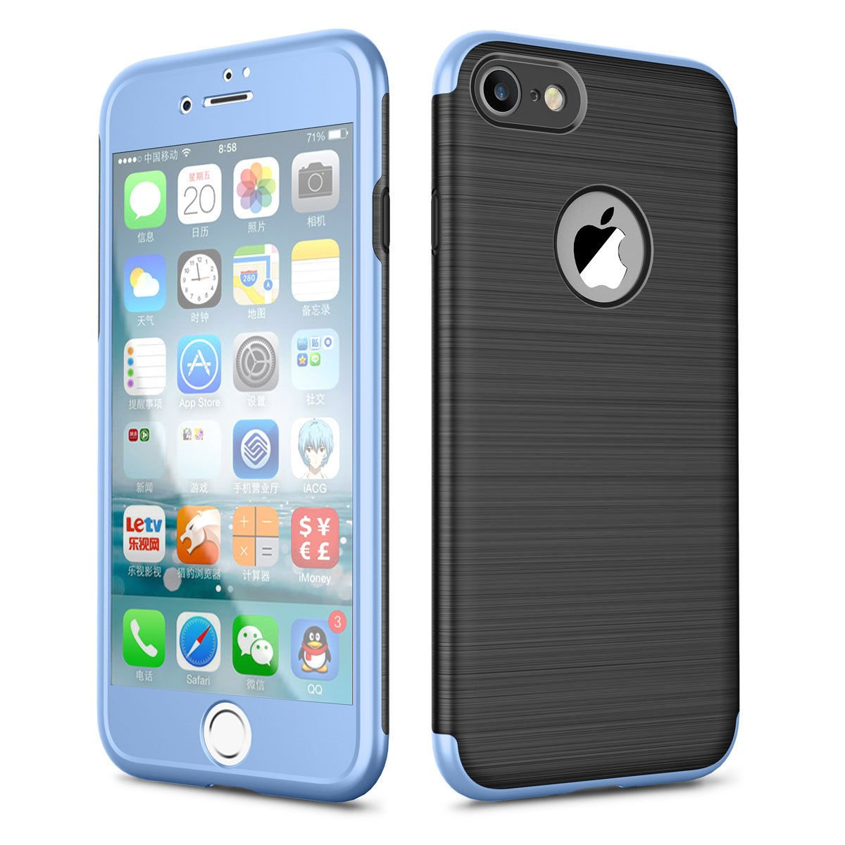 1e45660be8fae9 Amazon.com: iPhone 6 Case, Purpplex Luxury Ultra Thin Brushed Hybrid Rugged Shockproof  360 Protection Case Cover + Tempered Glass for Apple iPhone 6 - Blue: ...