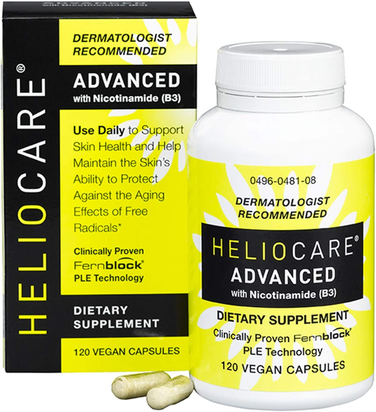 Heliocare Advanced Nicotinamide B3 Supplement Niacinamide 250mg and Fernblock PLE Extract 120mg Per Capsule – Helps Support Skin Cell Health W Antioxidant Rich Vitamin B3 Niacin – 120 Vegan Capsules
