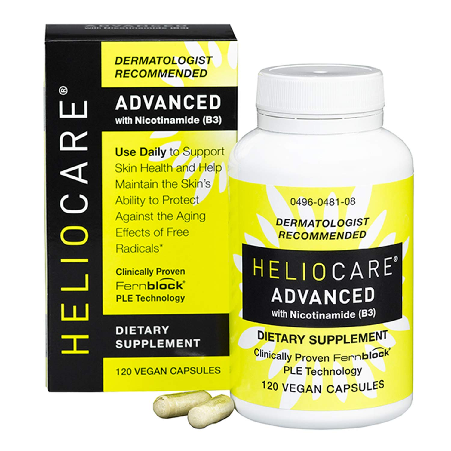 Heliocare Advanced Nicotinamide B3 Supplement: Niacinamide 500mg and Fernblock PLE Extract 240mg - Help Support Skin Cell Health with Antioxidant Rich Non Flush Vitamin B3 Niacin - 120 Vegan Capsules