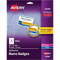 "Avery White Adhesive Name Badges, 2-1/3"" x 3-3/8"", Pack of 80 (25395)"