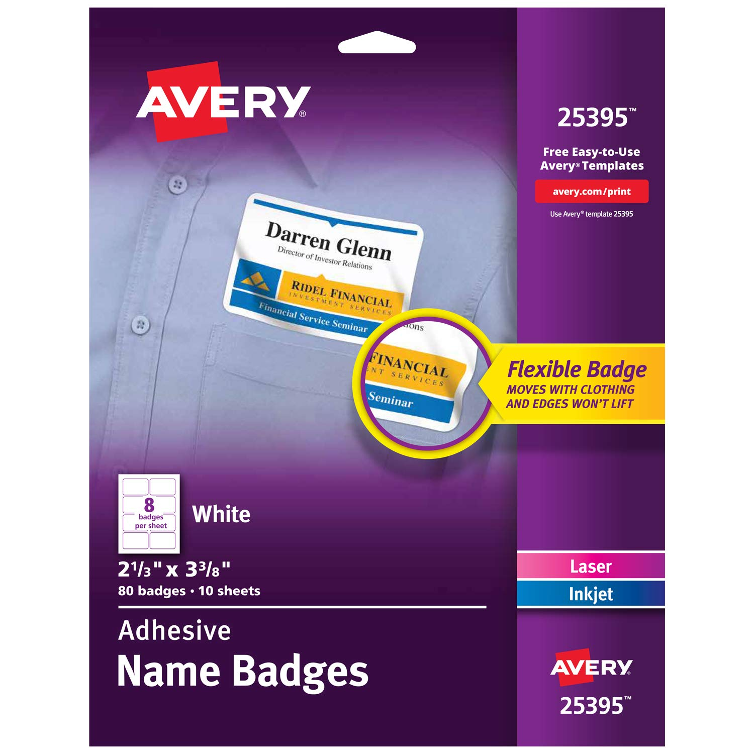 Avery Self-Adhesive Name Badges, 2.33 x 3.375 Inch, White, Pack of 80 (25395)