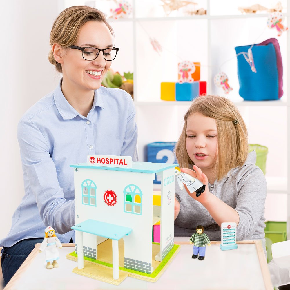 Includes Dolls and Furniture by Imagination Generation TSTR-004 14 Pieces Wooden Wonders Helping Hands Hospital Playset