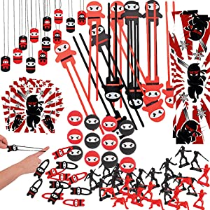 Bulk Ninja Samurai Party Supplies - Ninja Samurai Birthday Party Favors for Kids (132 Pieces) - Chopsticks, Action Figurines, Bouncy Balls, Bookmarks, Stickers, Dog Tags, Stretchy Flying Ninjas