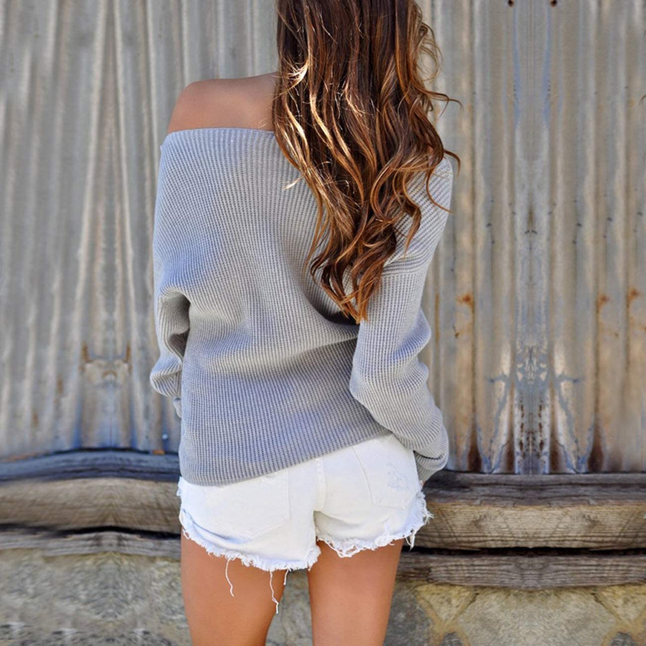 HOYMN Womens Knit Sweater Long Sleeve Off Shoulder Jumpers Pullover Loose Solid Color Casual Winter Sweatshirt