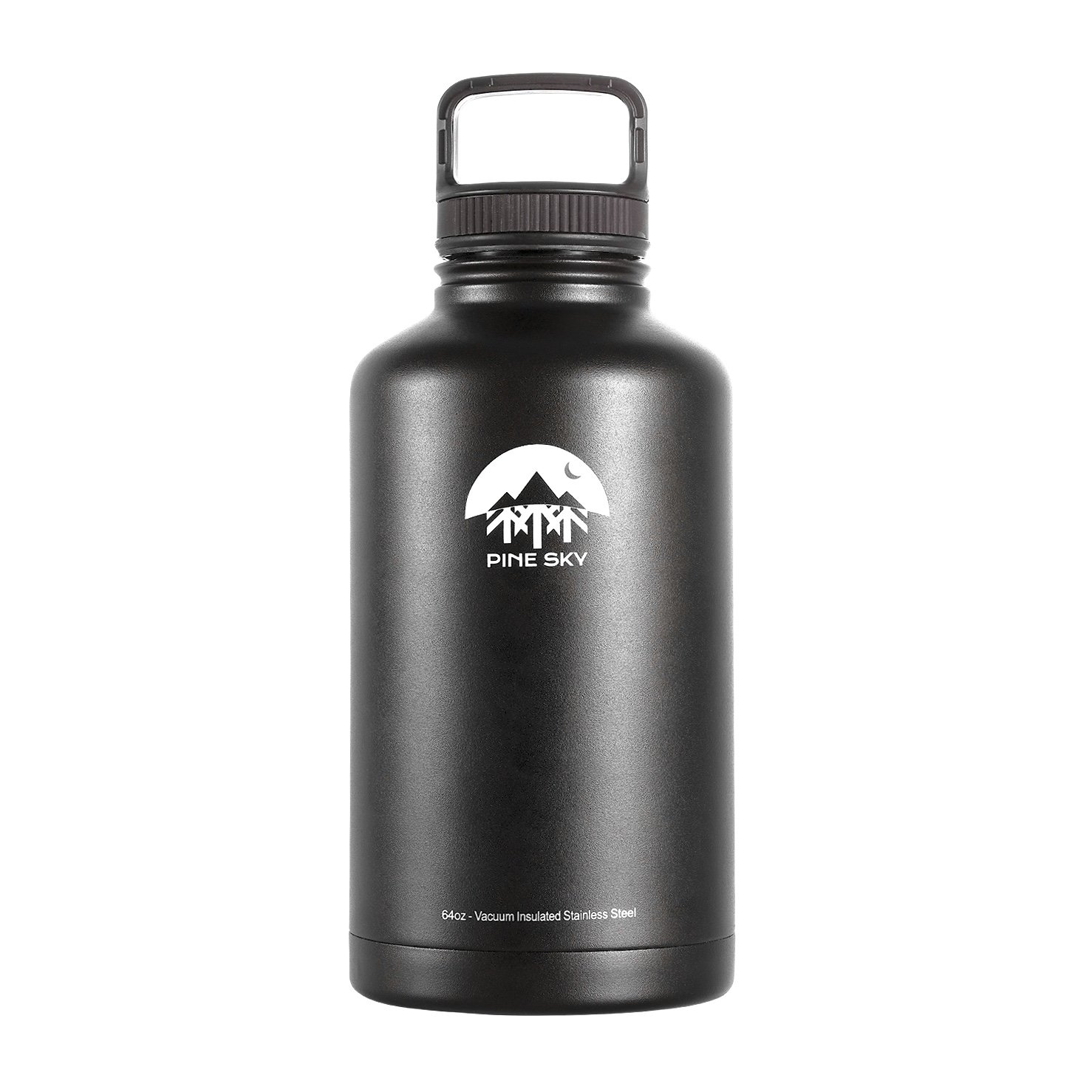 64oz Stainless Steel Growler and Vacuum Insulated Wide Mouth Water Bottle by Pine Sky - 2 Lid Package, Black PINESKYGR