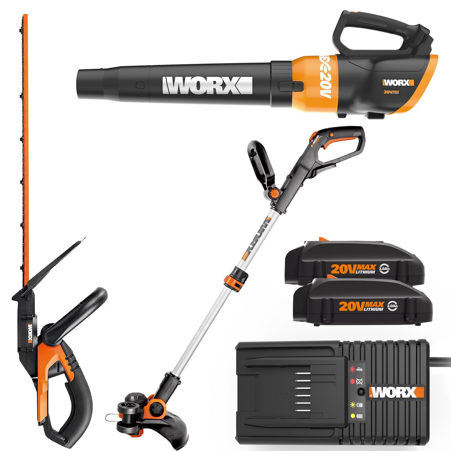 Worx WO7042 20V Grass Trimmer/Edger, Hedge Trimmer, and Turbine Blower Combo Kit with Two 20V Batteries