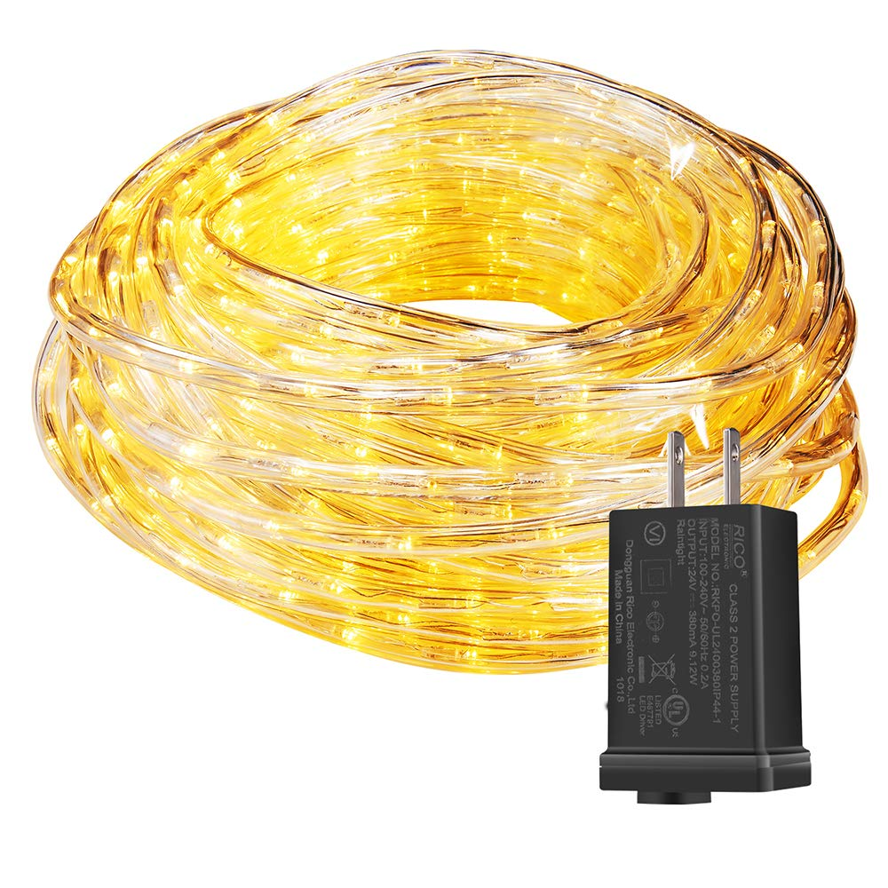 MINIAO Upgraded 100ft 24V Waterproof LED Rope Light Fit for Background Lighting Christmas Lighting, with UL Certified (Warm White)