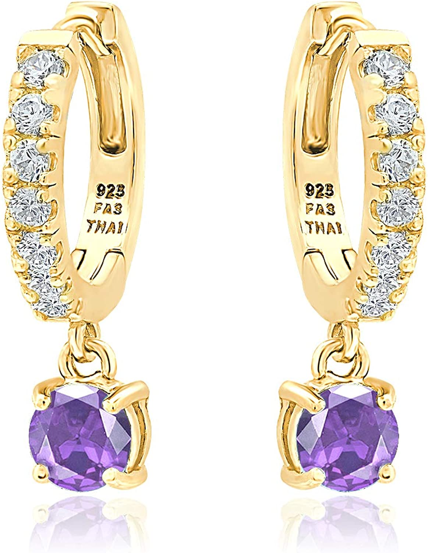 Sterling Silver 5mm Genuine, Created or Simulated Gemstone Birthstone Month Colors& White CZ Dangle Huggie Hoop Earrings for Women Teen Girls, 15mm Diameter