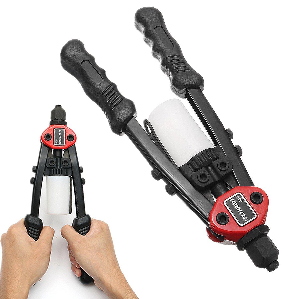 OlogyMart 11inch Pop Double Hand Riveter Gun Pneumatic Tool Rivet Size 3.2/4.0/5.0/6.0/6.2mm