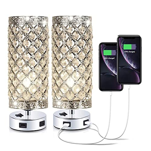 Pack of 2 Surpars House Crystal Table Lamp with Double USB Charging Port, On Off Switch on Base,Bedside Lamp Nightstand Lamp,Silver