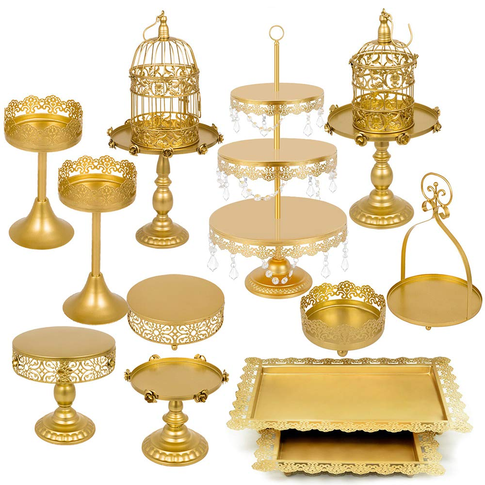 Lucky Monet 14Pcs Roses Cake Stand Holder Cupcake Tower Stand Wedding Plates Set Metal Party Dessert Display Décor with Crystals Beads(Gold)