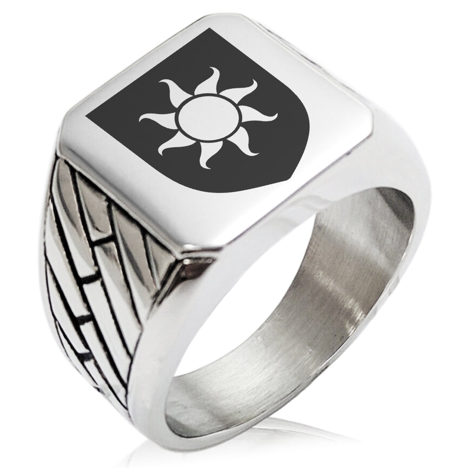 Two-Tone Stainless Steel Sun Splendor Coat of Arms Shield Engraved Geometric Pattern Biker Style Polished Ring, Size 9