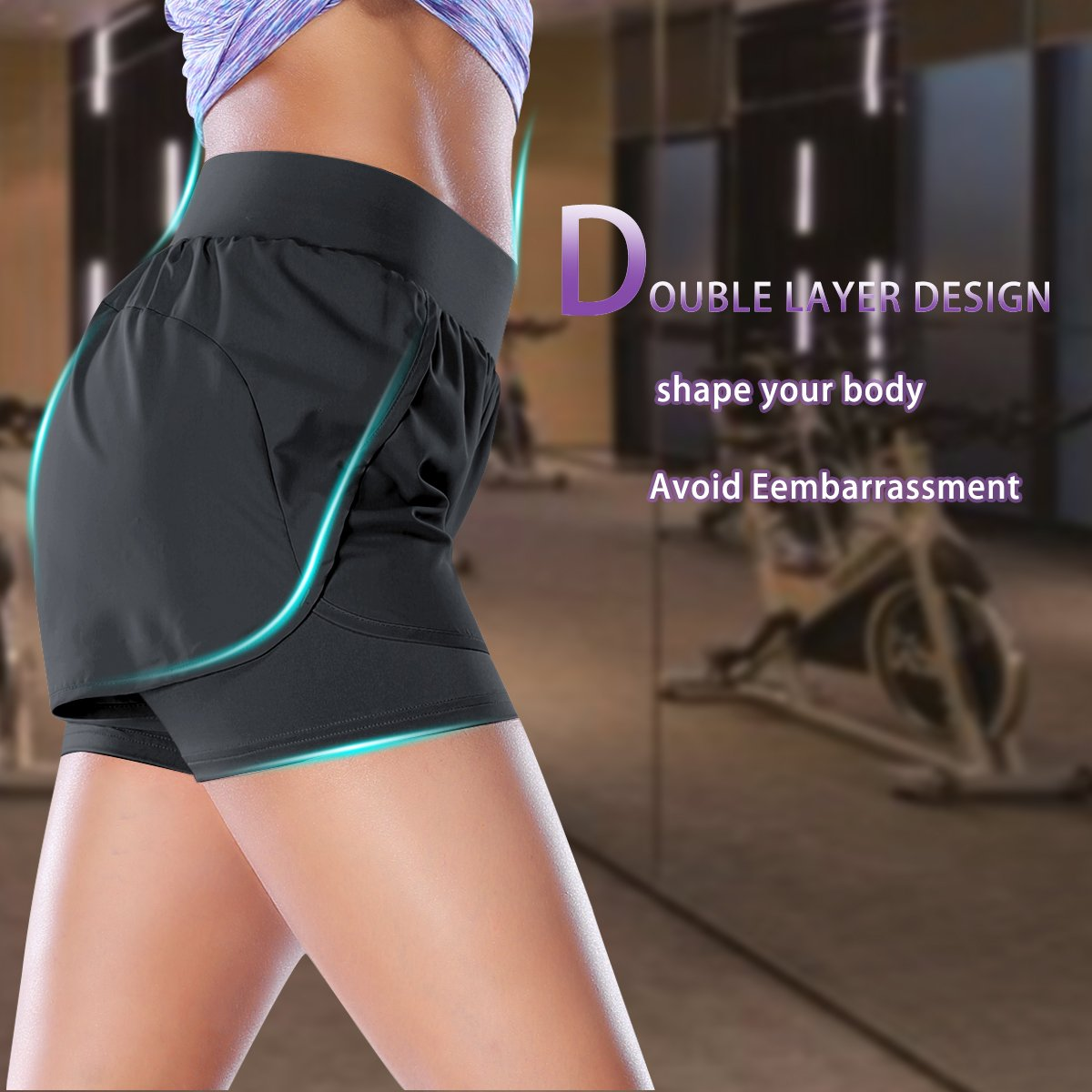 Camel Athletic Shorts for Women Double Layer Gym Workout Sports Yoga Shorts for Running Training Jogging Fitness