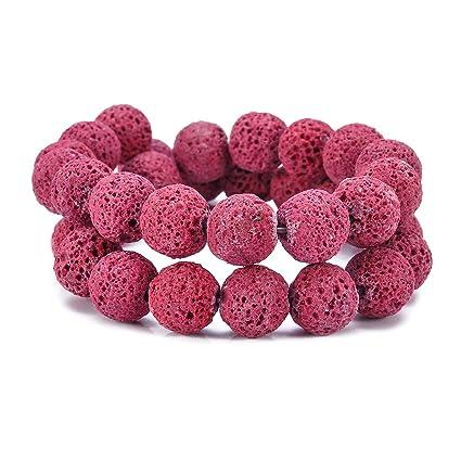 Cuentas de pino de piedra volcánica rojas y rosas YF para hacer collares, pulseras y