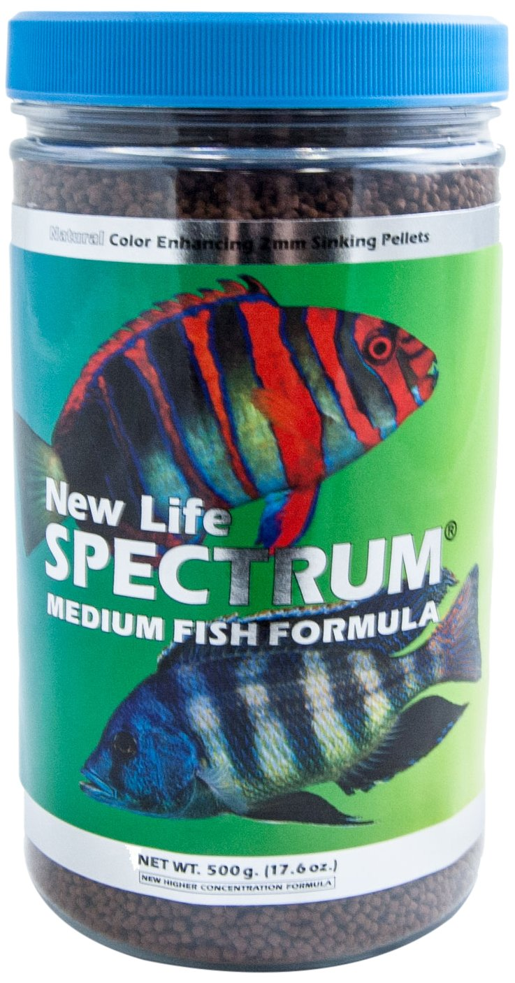 New Life Spectrum Medium Fish Formula 2mm Sinking Salt/Freshwater Pet Food, 500gm by New Life Spectrum