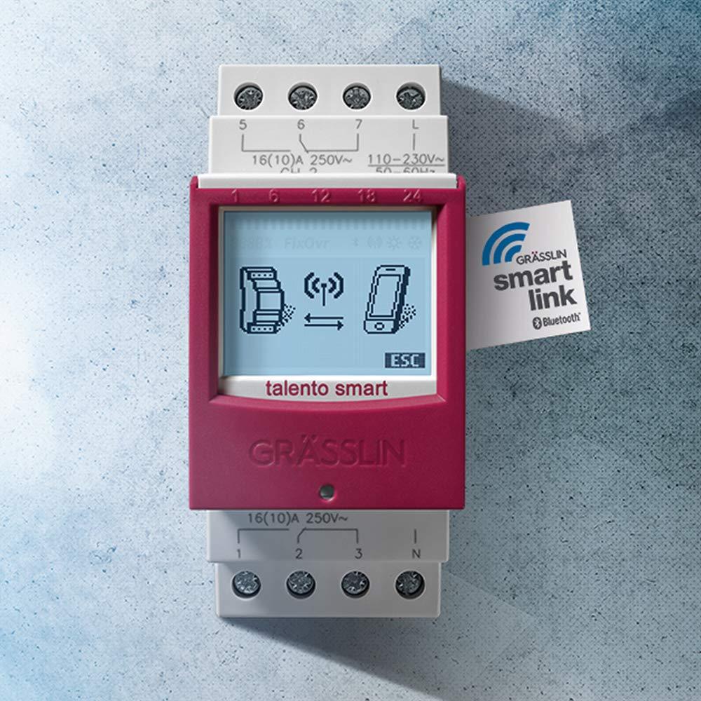 Programaci/ón Movil a trav/és de la App AC 110-230 V Montaje Carril DIN Talento Smart B15 Interruptor Horario Digital con Interfaz Inal/ámbirco Bluetooth 4.0-1 Canal GR/ÄSSLIN 43.02.0001.1
