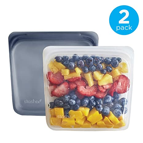 bbf509c54b14b Stasher Reusable Silicone Food Bag, Sandwich Bag, Sous vide Bag, Storage  Bag, Set of 2, Clear and Grey