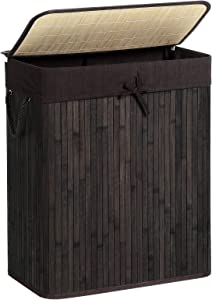 SONGMICS Bamboo Laundry Hamper with Lid, Two-Section Laundry Basket Sorter, 26 Gal (100L) with Liner and Handles, Rectangular, Brown ULCB64BR