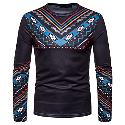 HDGTSA Mens Henleys Shirts Casual African Tribal Long Sleeve Pullover Top Blouse at Men's Clothing store [5Bkhe0705207]