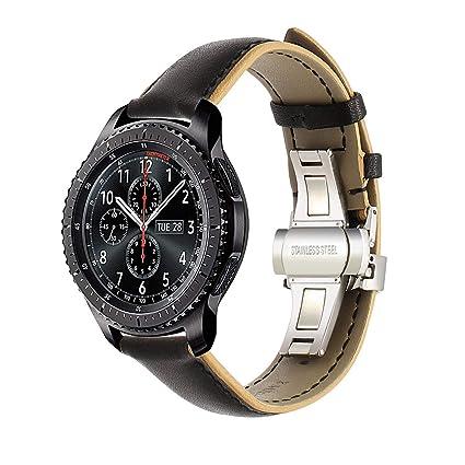 Para Samsung Gear S3 Frontier / Classic Banda de Reloj, TRUMiRR 22mm doble banda de cuero de color original Quick Release Buttterfly correa de muñeca ...