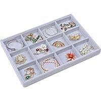 STYLIFING Grey Velvet 12 Grid Jewelry Tray Showcase Removable Display Storage Box for Girls Women