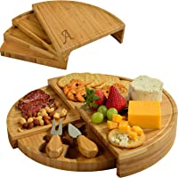 Picnic at Ascot Personalized Bamboo Board for Appetizers with Cheese Tools - Spirals from a Compact Wedge to 13…