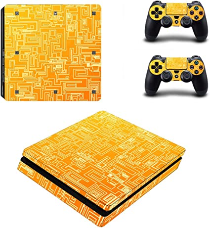 Dotbuy PS4 - Pegatina protectora para Sony Playstation 4 Slim Consola y 2 mandos DualShock naranja Orange Maze: Amazon.es: Informática