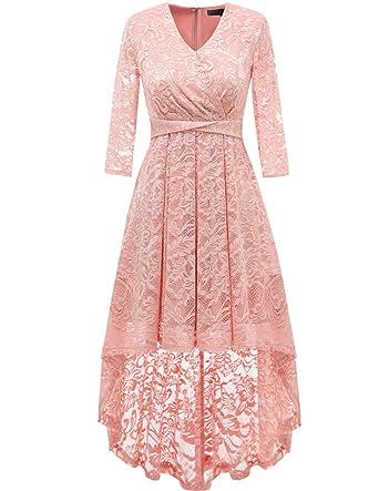 f251358828ba7 Dresstells Abendkleider elegant Cocktailkleid Unregelmässig Spitzenkleid  Vokuhila Floral Kleid Blush S