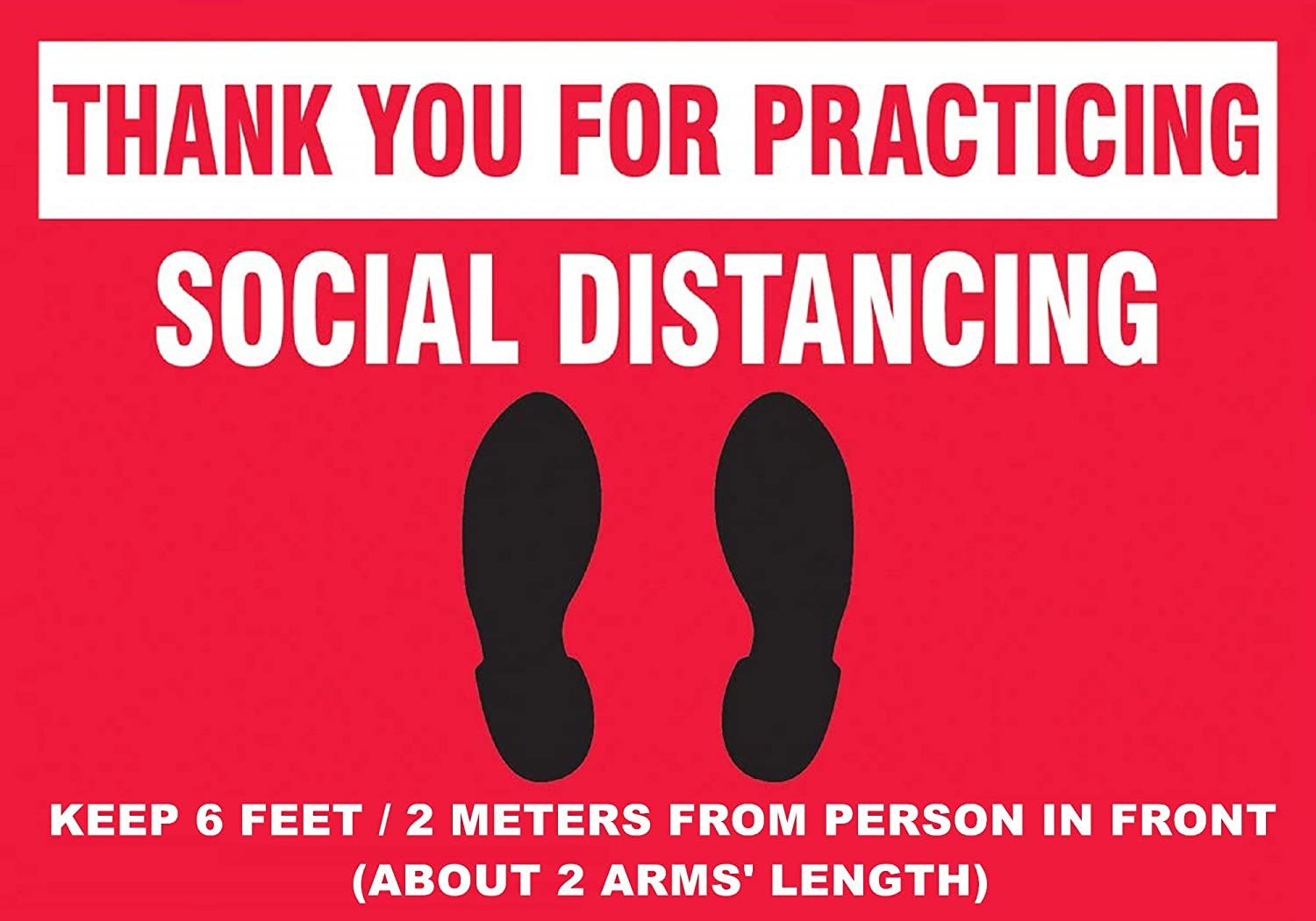 Keep Social Distance Sign 7x10/″ Self-Adhesive Vinyl PVC Sticker for Distant Socializing Practice Social Distancing Decal Minimum Safe Physical Distance Label 177.8/×254mm Case of 100 1RHA05