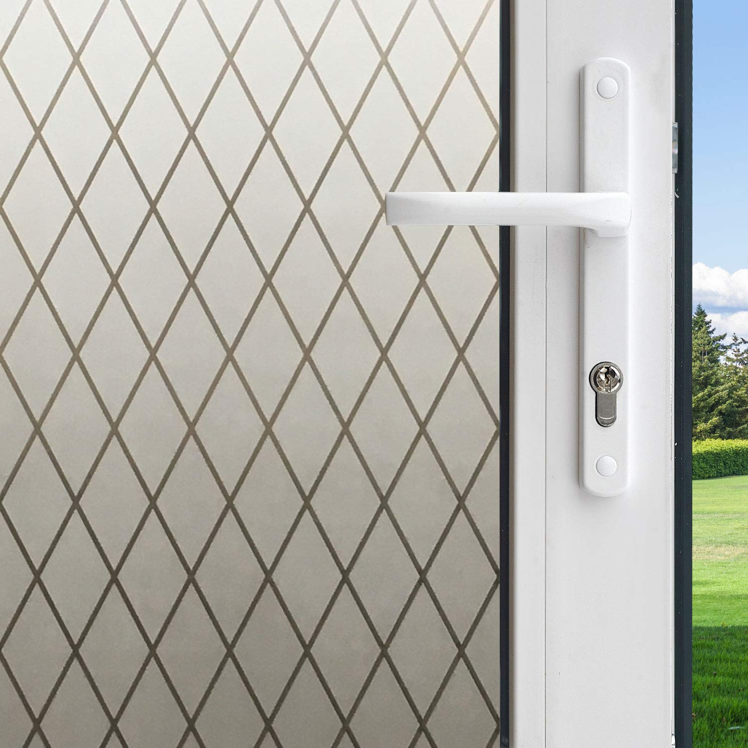 Gila 50188238 Frosted Lattice Decorative Privacy Control Static Cling 36 x 78-INCH (3 6.5 ft.) Window Film, 36in x 78in