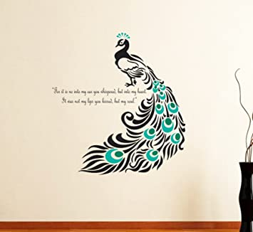 de19302bed8 Buy DreamKraft Peacock Quote Wall Sticker Decal for Living and Kids Room  Decor(PVC Vinyl