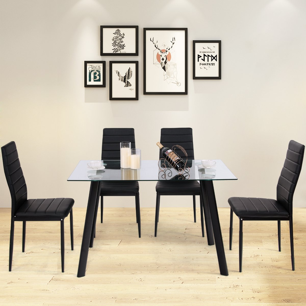 Tangkula 5 PCS Dining Table Set Modern Tempered Glass Top and PVC Leather Chair w/4 Chairs Dining Room Kitchen Furniture (Black)
