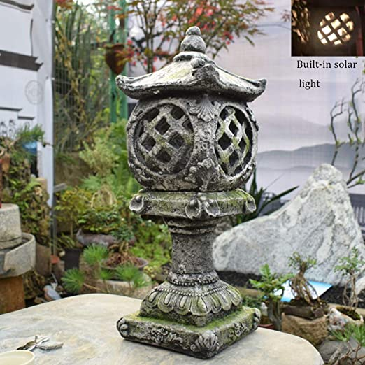 Palace Light Solar Jardín Adorno Decoración Vintage Resin Landscape Para Patio Exterior Jardín Y Balcón Patio Decoración: Amazon.es: Hogar