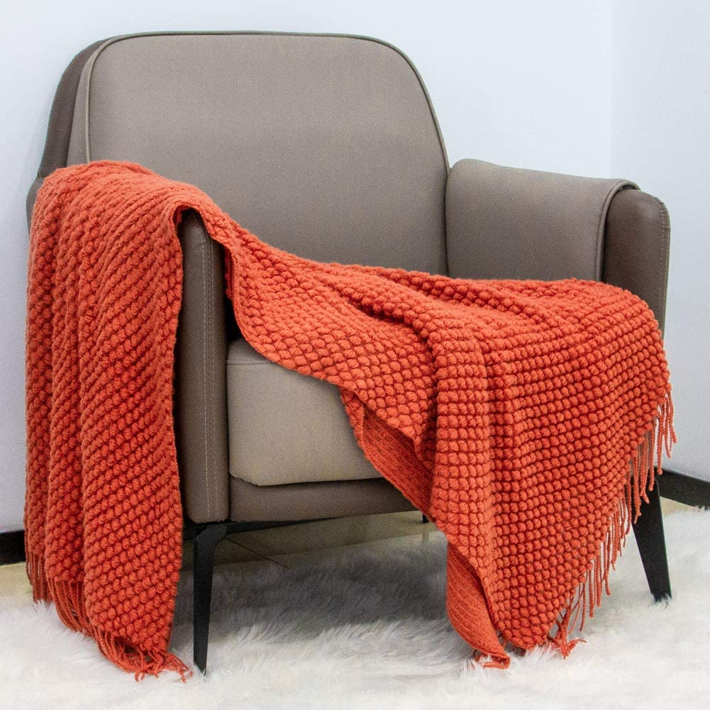 Sofier KnitThrowBlankets with Tassels 3D Bubble Pattern 50×60 Inch Light Soft Acrylic Texture Washable DecorativeThrowBlanket for Couch Bed Living Room Home Decor for Home Travel Office Use(Rust)